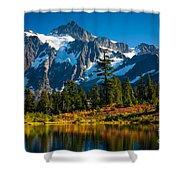 Majestic Mount Shuksan Shower Curtain by Inge Johnsson