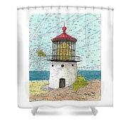 Makapuu Lighthouse Oahu Hi Nautical Chart Map Art Shower Curtain