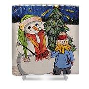 Make A Wish Snowman Shower Curtain