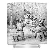 Making A Snowman Shower Curtain