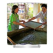 Making Paper Using Mulberry Tree Pulp At Boring Paper Factory In Chiand Mai-thailand Shower Curtain