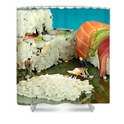 Making Sushi Little People On Food Shower Curtain by Paul Ge