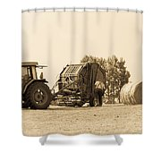 Farm - Tractor - Hay - Making The Drop Shower Curtain