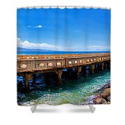 Mala Wharf Panorama 1 Shower Curtain