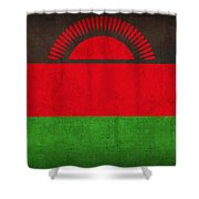 Malawi Flag Vintage Distressed Finish Shower Curtain