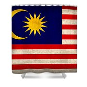 Malaysia Flag Vintage Distressed Finish Shower Curtain