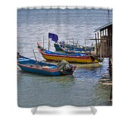 Malaysian Fishing Jetty Shower Curtain by Louise Heusinkveld