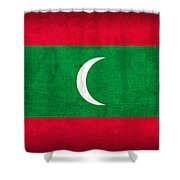 Maldives Flag Vintage Distressed Finish Shower Curtain