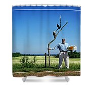 Male Box Man Shower Curtain by Edward Fielding