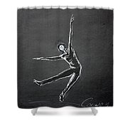 Male Dancer In White Lines On Black Shower Curtain
