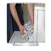 Male Doing Laundry Shower Curtain