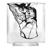Male Figure Abstraction Shower Curtain