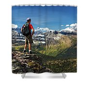 Male Hiker Standing On Top Of Mountain Shower Curtain