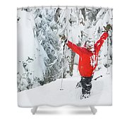 Male Skier Throws His Hands Shower Curtain