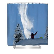 Male Snowboarder Throwing Powder Shower Curtain