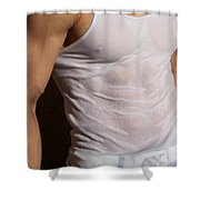 Male Wet Tank Top Shower Curtain