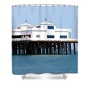 Malibu Pier On A California Blue Sky Day Shower Curtain