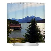 Maligne Lake Boathouse Shower Curtain by Karen Wiles