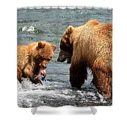 Mama And Baby Grizzly Bear At The Falls Shower Curtain