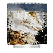 Mammoth Springs Yellowstone Steam Rising Shower Curtain