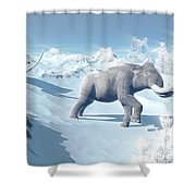 Mammoths Walking Slowly On The Snowy Shower Curtain