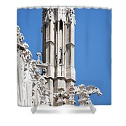 Man And Dragon Gargoyles With Tower Duomo Di Milano Italia Shower Curtain