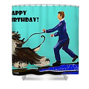Man And His Dog Shower Curtain