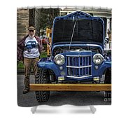 Man And His Jeep Shower Curtain