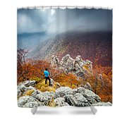 Man And The Mountain Shower Curtain by Evgeni Dinev
