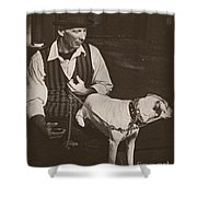 Man And White Dog In New Orleans Shower Curtain