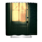 Man At Door With Cleaver Shower Curtain