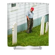 Man At Headstone Shower Curtain