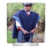 Man At Otavalo Animal Market Ecuador Shower Curtain
