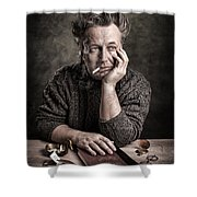 Man At The Table - Lonely Hearts Club Shower Curtain