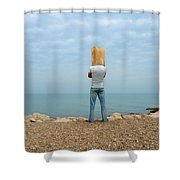 Man By The Sea With Bag On His Head Shower Curtain