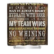 Man Cave Rules 2 Shower Curtain by Debbie DeWitt