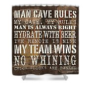 Man Cave Rules Square Shower Curtain
