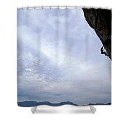 Man Climbing A Big Wall In El Potrero Shower Curtain by Corey Rich