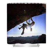 Man Climbing On An Overhang In Joshua Shower Curtain