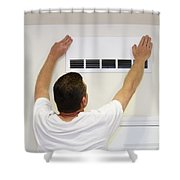 Man Covering Air Vent Shower Curtain
