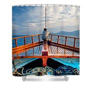 Man Day-deaming On Traditional Greek Ship Shower Curtain