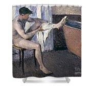 Man Drying His Leg  Shower Curtain