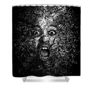 Man Eyes Face Horror Portrait Black And White  Shower Curtain