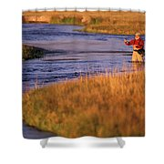 Man Fly Fishing On The Owens River Shower Curtain