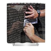 Man Getting A Rubbing Of Fallen Soldier's Name At The Vietnam War Memorial Shower Curtain