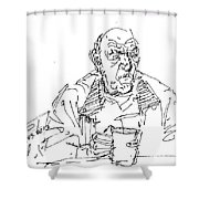 Man Having Coffee Shower Curtain