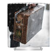 Man Holding A Vintage Leather Suitcase In Winter Snow Shower Curtain