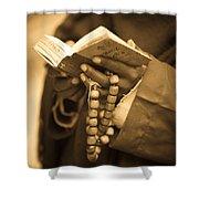 Man Holding Prayer Book Ethiopia Shower Curtain