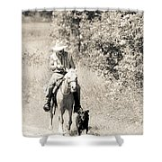 Man Horse And Dog Shower Curtain