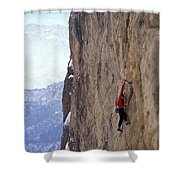 Man In A Red Shirt Lead Climbing Shower Curtain by Corey Rich
